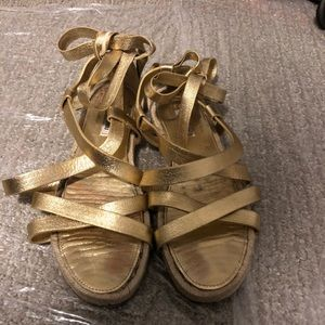 Miu miu Gold Gladiator Sandals 40